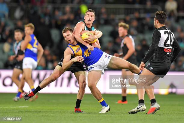 Luke Shuey of the Eagles and Tom Rockliff of the Power compete for the ball during the round 21 AFL match between the Port Adelaide Power and the...