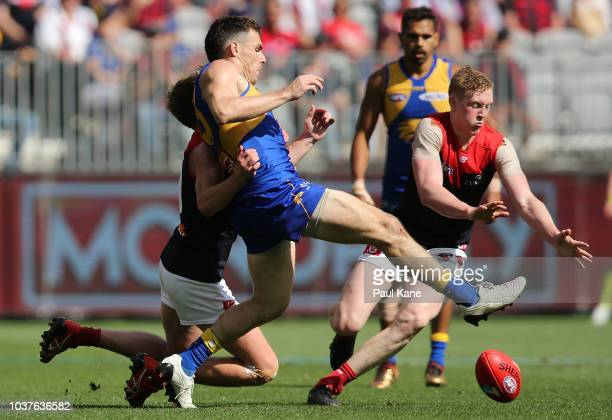 Luke Shuey of the Eagles attempts to soccer the ball during the AFL Preliminary Final match between the West Coast Eagles and the Melbourne Demons on...