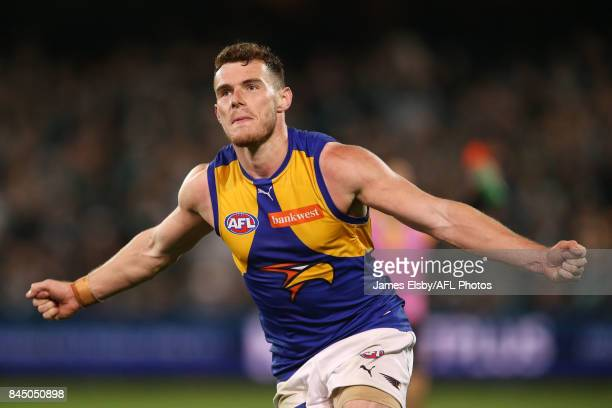 Luke Shuey of the Eagles celebrate the winning goal during the AFL First Elimination Final match between Port Adelaide Power and West Coast Eagles at...