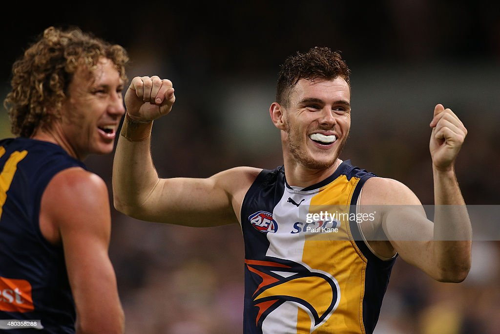 Luke Shuey of the Eagles celebrates after a goal during the round 15 AFL match between the West Coast Eagles and the Adelaide Crows at Domain Stadium on July 11, 2015 in Perth, Australia.