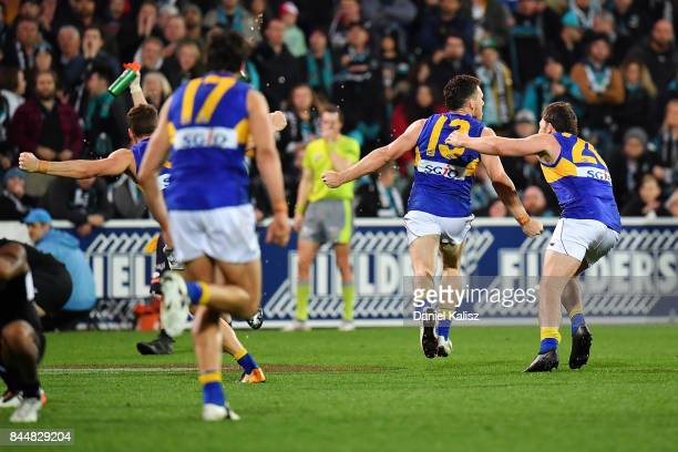 Luke Shuey of the Eagles celebrates after kicking the winning goal during the AFL First Elimination Final match between Port Adelaide Power and West...