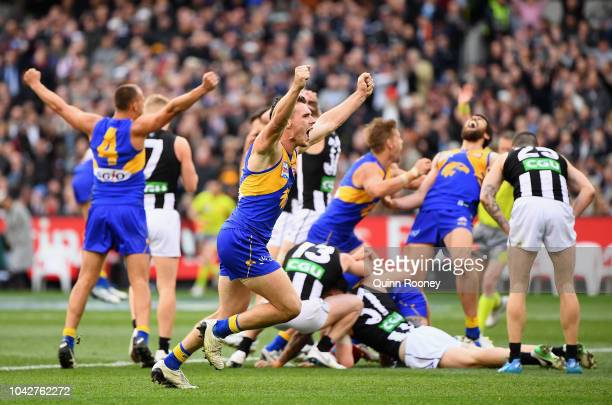 Luke Shuey of the Eagles celebrates winning the 2018 AFL Grand Final match between the Collingwood Magpies and the West Coast Eagles at Melbourne...