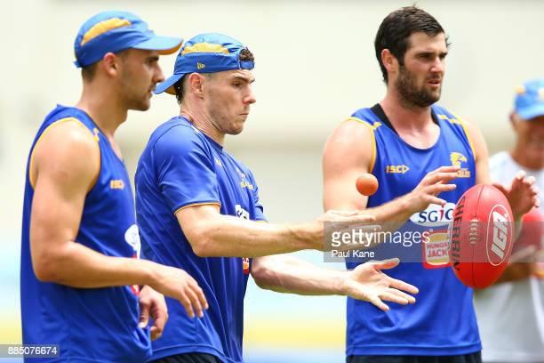 Luke Shuey works on a handball drill during a West Coast Eagles AFL preseason training session at the WA Athletics Stadium on December 4 2017 in...
