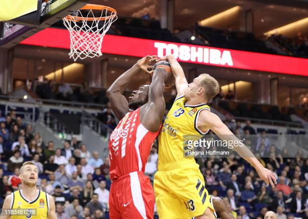 Luke Sikma, #43 of Alba Berlin competes with Michael Ojo, #50 of Crvena Zvezda mts Belgrade during the 2019/2020 Turkish Airlines EuroLeague Regular...