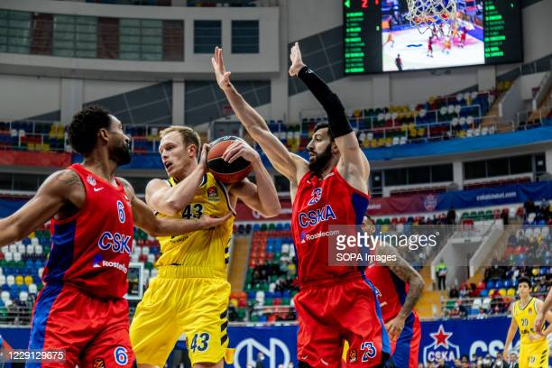 Luke Sikma #43 of Alba Berlin in action against CSKA Moscow during the Turkish Airlines EuroLeague Round 4 of 20202021 season at the Megasport Arena...