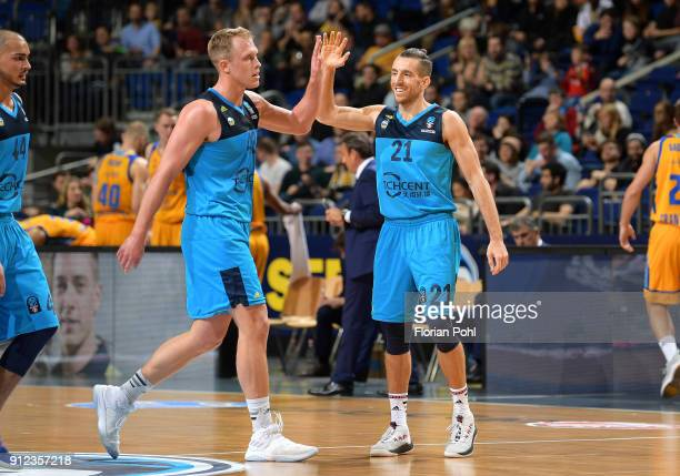 Luke Sikma and Spencer Butterfield of Alba Berlin during the game between Alba Berlin and Herbalife Gran Canaria on January 30 2018 in Berlin Germany