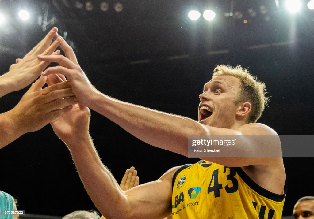 Luke Sikma of ALBA Berlin celebrates after winning the fourth play-off game of the German Basketball Bundesliga finals at Mercedes-Benz Arena on June 13, 2018 in Berlin, Germany.