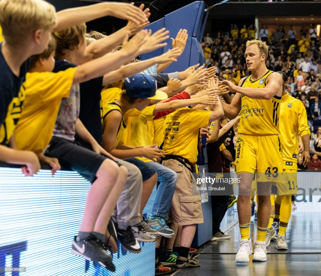 Luke Sikma of ALBA Berlin celebrates after winning the the fourth play-off game of the German Basketball Bundesliga finals at Mercedes-Benz Arena on June 13, 2018 in Berlin, Germany.