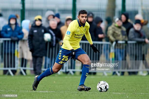 Luke Singh of Brondby IF in action during the testmatch between Brondby IF and SonderjyskE at Brondby Stadion on February 10, 2020 in Brondby,...