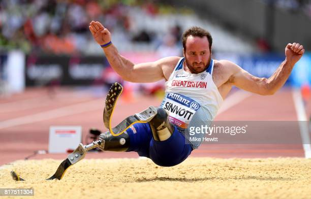 Luke Sinnott of Great Britain competes in the Men's Long Jump T42 Final during day five of the IPC World ParaAthletics Championships 2017 at the...