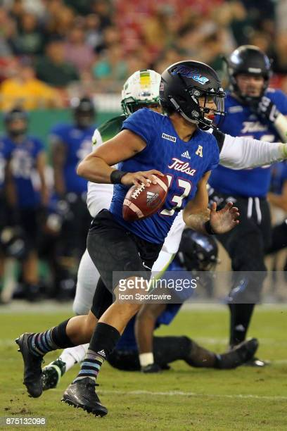 Luke Skipper of Tulsa runs the ball during the game between the Tulsa Golden Hurricane and the USF Bulls on November 16 at Raymond James Stadium in...