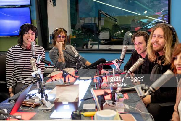 Luke Spiller Gethin Davies Jed Elliott and Adam Slack of The Struts as they visit the Elvis Duran show at Z100 Studio on November 07 2018 in New York...