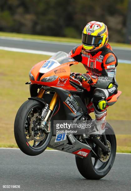 Luke Stapleford of Great Britain and Profile Racing celebrates after competing in the SuperSport FIM World Championship Free Practice session ahead...