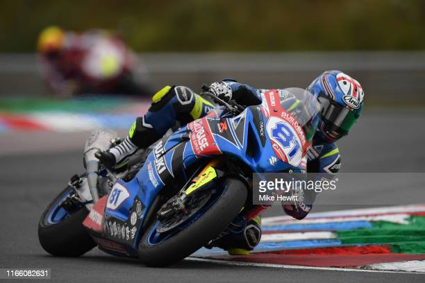 Luke Stapleford of Great Britain in action during the British Superbikes Championships at Thruxton Circuit on August 04, 2019 in Andover, England.