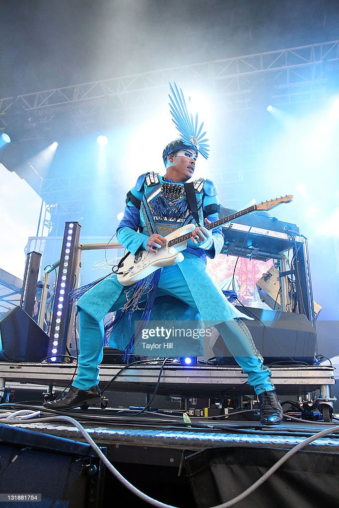 Luke Steele of Empire of the Sun performs during the 2011 Governors Ball music festival on Governors Island on June 18, 2011 in New York City.