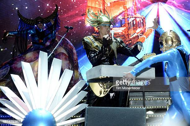 Luke Steele of Empire of the Sun performs during Ultra Music Festival at Bayfront Park Amphitheater on March 29 2014 in Miami Florida