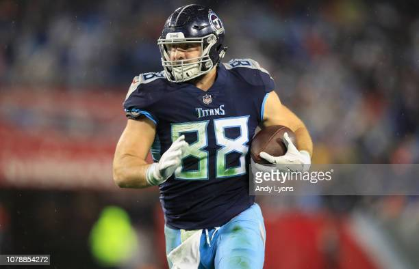 Luke Stocker of the Tennessee Titans runs with the ball against the Indianapolis Colts at Nissan Stadium on December 30 2018 in Nashville Tennessee