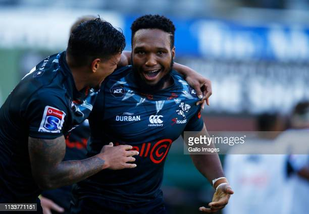 Luke Stringer with Lukhanyo Am of the Cell C Sharks during the Super Rugby match between Cell C Sharks and Vodacom Bulls at Jonsson Kings Park on...