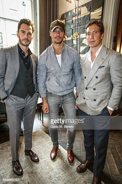 Luke Sweeney David Gandy and Thom Sweeney attend the Thom Sweeney presentation during The London Collections Men SS17 at The Arts Club on June 13...