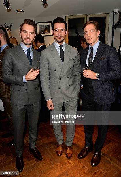 Luke Sweeney, David Gandy and Thom Whiddett attend the opening of the new Thom Sweeney RTW & MTM Store on November 13, 2014 in London, England.