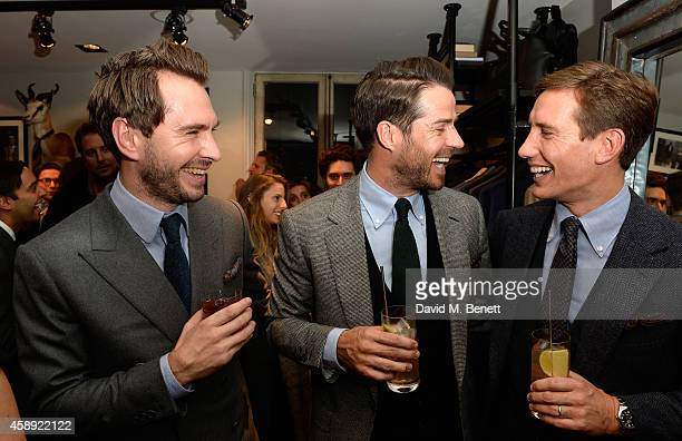 Luke Sweeney Jamie Redknapp and Thom Whiddett attend the opening of the new Thom Sweeney RTW MTM Store on November 13 2014 in London England