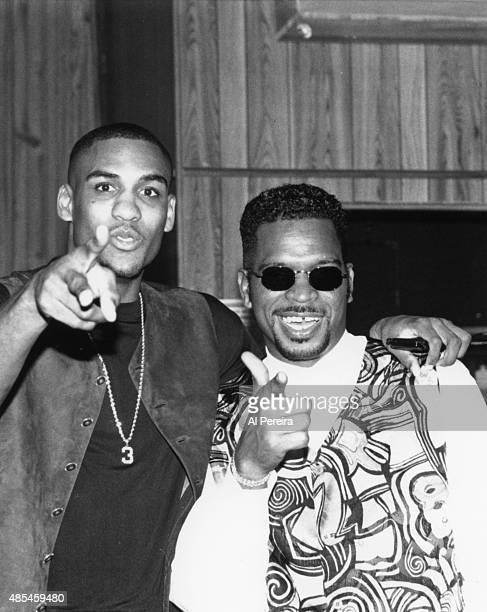 """Luke Syywalker aka Luther Campbell and basketball player Steve Smith of the rap group """"2 Live Crew"""" poses attend an event in circa 1990 in New York."""