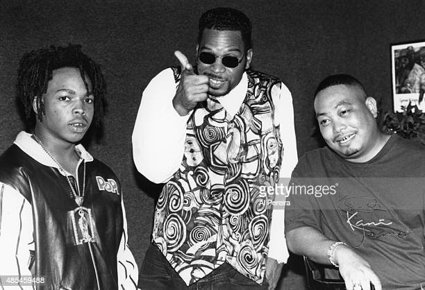 Luke Syywalker aka Luther Campbell and other members of the rap group '2 Live Crew' poses attend an event in circa 1990 in New York