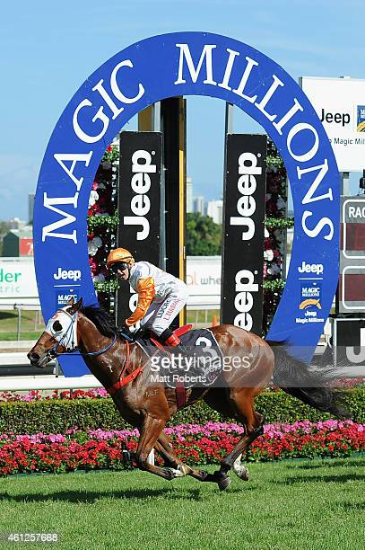 Luke Tarrant ride Le Chef to victory during Magic Millions Race Day at Gold Coast Racecourse on January 10, 2015 on the Gold Coast, Australia.