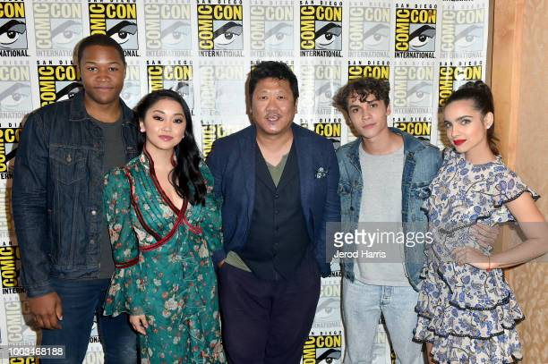 Luke Tennie Lana Condor Benedict Wong Benjamin Wadsworth and Maria Gabriela de Faria attend the 'Deadly Class' Press Line during ComicCon...