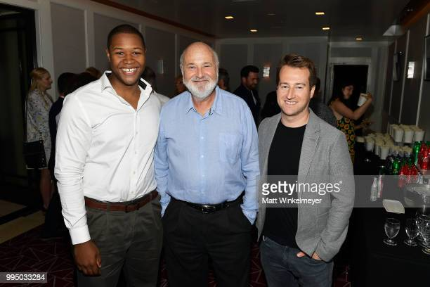 Luke Tennie Rob Reiner and Joey Hartstone attend the premiere of Vertical Entertainment's Shock and Awe at The London West Hollywood on July 9 2018...
