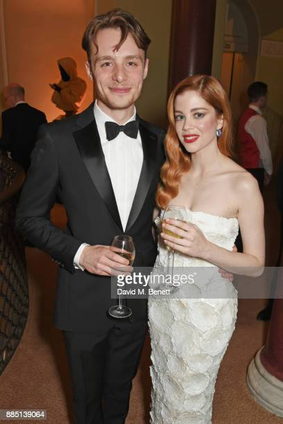 Luke Thallon and Charlotte Hope attend a drinks reception ahead of the London Evening Standard Theatre Awards 2017 at the Theatre Royal Drury Lane on...
