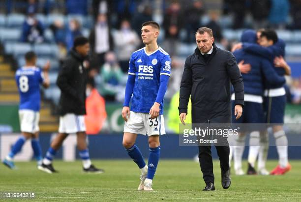 Luke Thomas and Brendan Rodgers, Manager of Leicester City look dejected following the Premier League match between Leicester City and Tottenham...