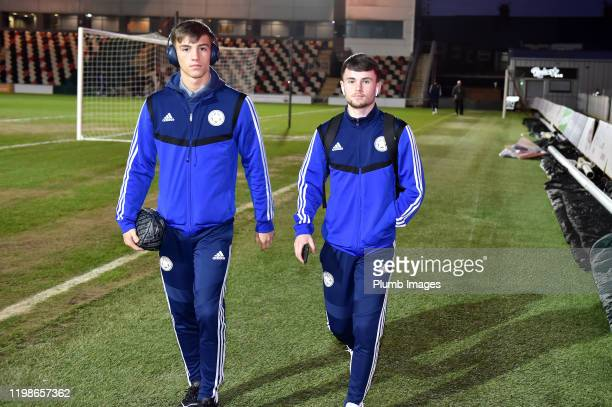 Luke Thomas and Conor Tee of Leicester City arrive before the Leasingcom quarter final match between Newport County and Leicester City U21 at Rodney...
