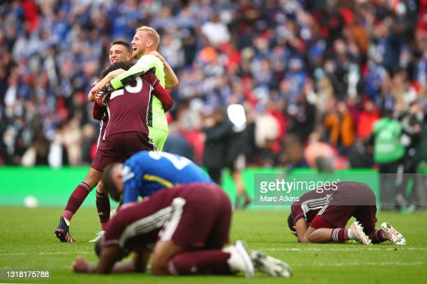 Luke Thomas and Kasper Schmeichel of Leicester City celebrate following their team's victory in The Emirates FA Cup Final match between Chelsea and...