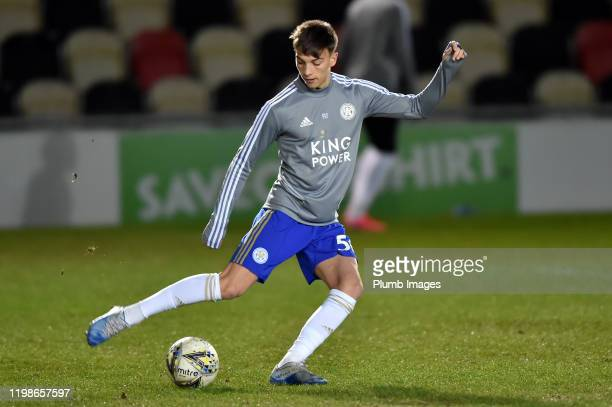 Luke Thomas of Leicester City before the Leasingcom quarter final match between Newport County and Leicester City U21 at Rodney Parade on February 04...
