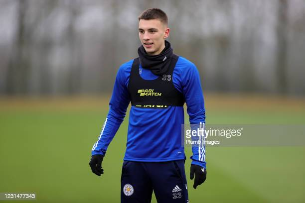 Luke Thomas of Leicester City during the Leicester City training session at Leicester City Training Ground, Seagrave on March 2, 2021 in Leicester,...