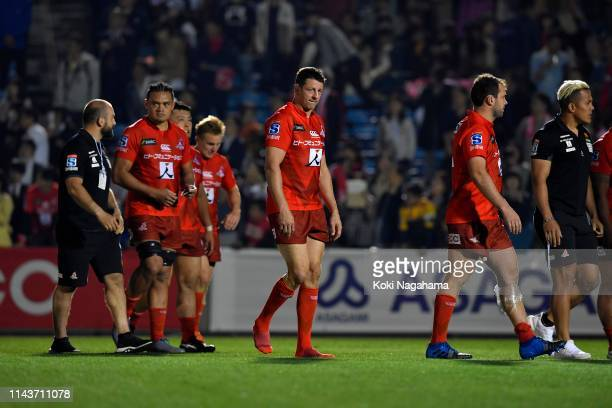 Luke Thompson of the Sunwolves shows dejection after the Super Rugby match between Sunwolves and Hurricanes at the Prince Chichibu Memorial Ground on...