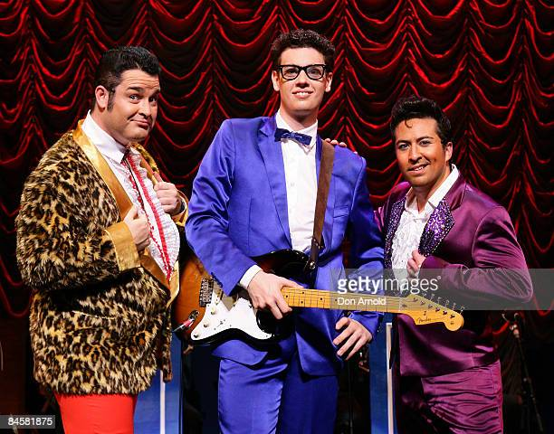"""Luke Tonkin as the Big Bopper, Scott Cameron as Buddy Holly and Philip Simmons as Ritchie Valens pose during a media call for """"Buddy -The Buddy Holly..."""
