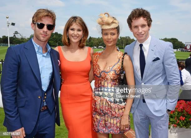 Luke Treadaway, Gemma Arterton, Thandie Newton and Eddie Redmayne attend Audi International at Guards Polo Club, near Windsor, to support England as...