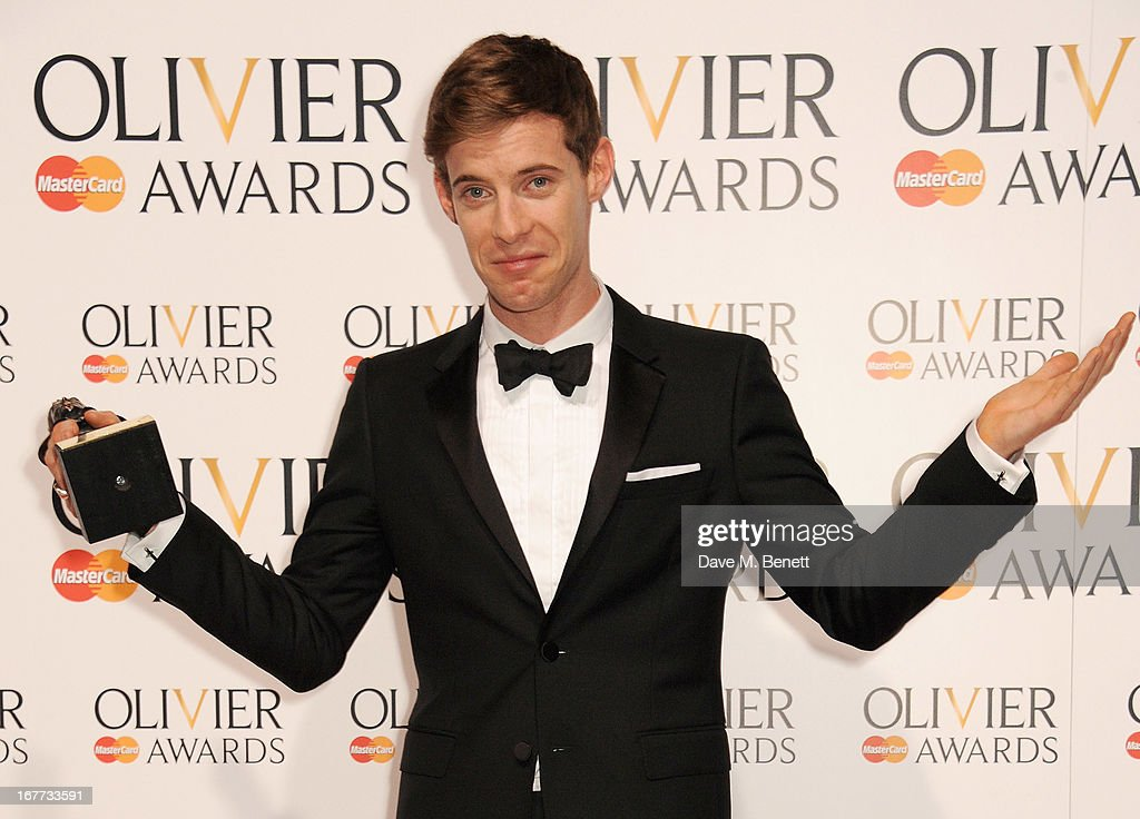 Luke Treadaway, winner of Best Actor, poses in the press room at The Laurence Olivier Awards 2013 at The Royal Opera House on April 28, 2013 in London, England.
