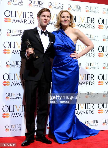 Luke Treadaway with his Best Actor award with presenter Kim Cattrall during The Laurence Olivier Awards at the Royal Opera House on April 28 2013 in...