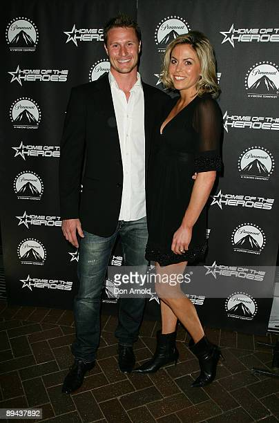 Luke Van Dyke and wife Amy Van Dyke arrive for the Paramount Home Entertainment Q4 launch at the Overseas Passenger Terminal on July 29, 2009 in...