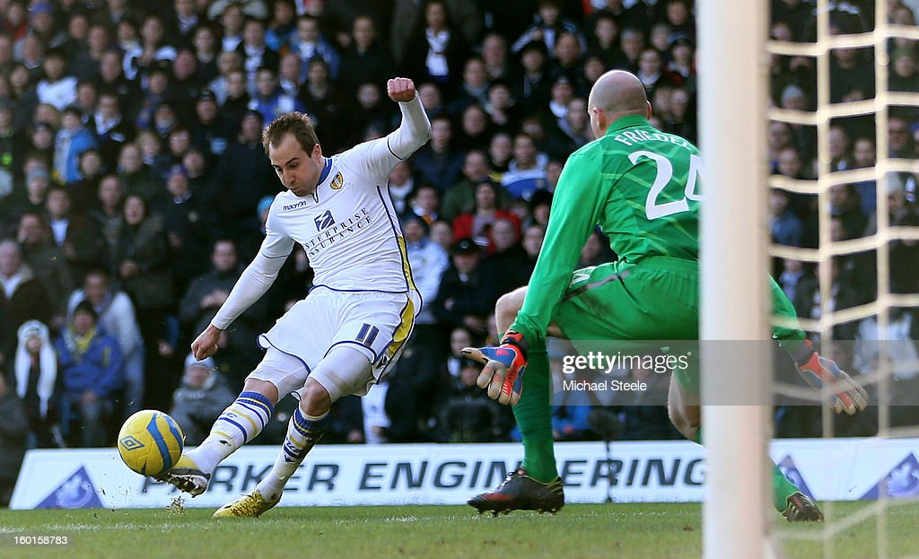 Luke Varney of Leeds scores the opening goal past Brad Friedel of Spurs during the FA Cup with Budweiser Fourth Round match between Leeds United and Tottenham Hotspur at Elland Road on January 27, 2013 in Leeds, England.