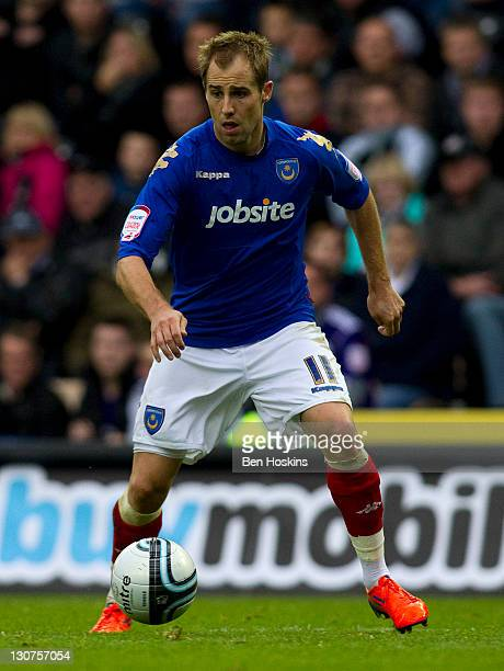 Luke Varney of Portsmouth competes during the npower Championship match between Derby County and Portsmouth at the Pride Park Stadium on October 29...