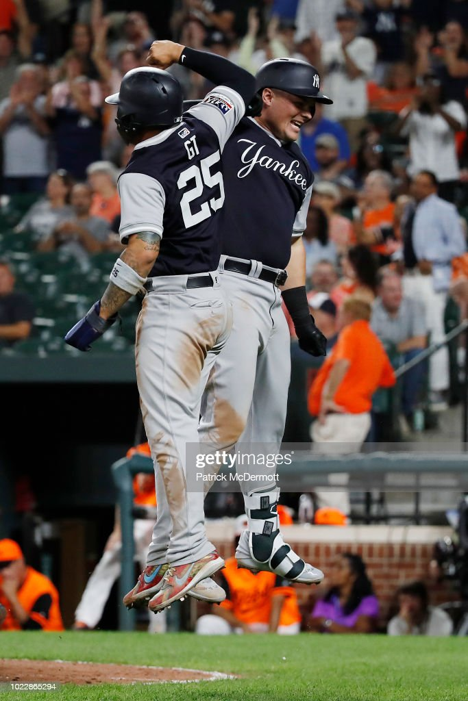 Luke Voit #45 of the New York Yankees celebrates with Gleyber Torres #25 after hitting a two-run home run in the tenth inning against the Baltimore Orioles at Oriole Park at Camden Yards on August 24, 2018 in Baltimore, Maryland.