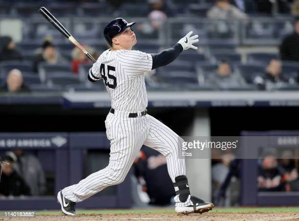 Luke Voit of the New York Yankees gets a hit against the Detroit Tigers at Yankee Stadium on April 02 2019 in New York City