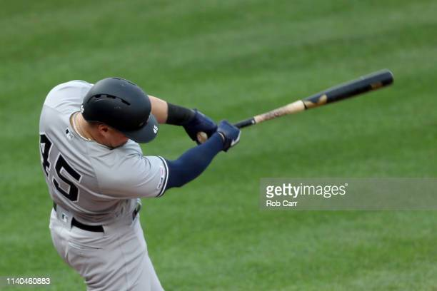 Luke Voit of the New York Yankees hitsa three run home run against the Baltimore Orioles in the eighth inning at Oriole Park at Camden Yards on April...