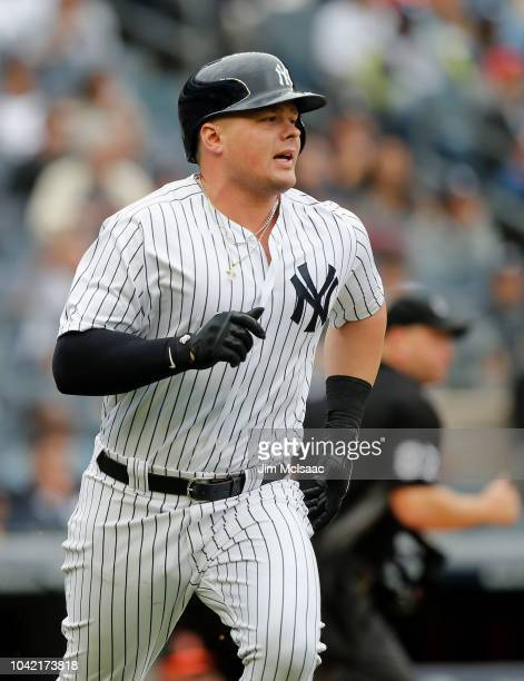 Luke Voit of the New York Yankees in action against the Baltimore Orioles at Yankee Stadium on September 23 2018 in the Bronx borough of New York...