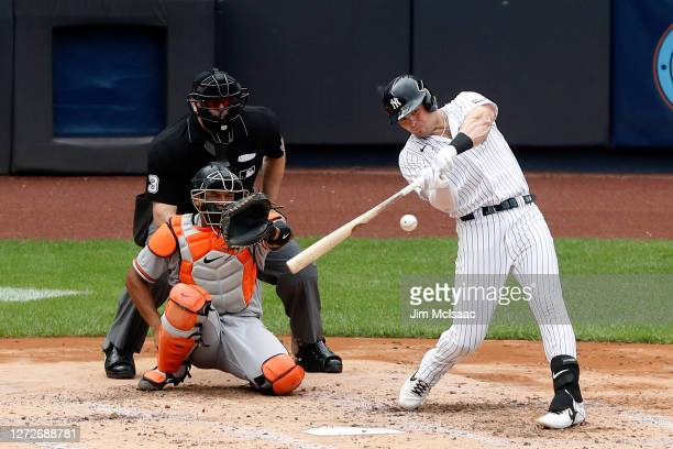 Luke Voit of the New York Yankees in action against the Baltimore Orioles at Yankee Stadium on September 13, 2020 in New York City. The Yankees...