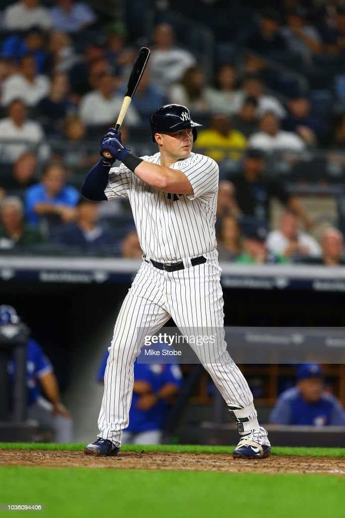 Luke Voit #45 of the New York Yankees in action against the Toronto Blue Jays at Yankee Stadium on September 14, 2018 in the Bronx borough of New York City. New York Yankees defeated the Toronto Blue Jays 11-0.